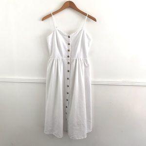 H&M White Button Front Dress Size 6